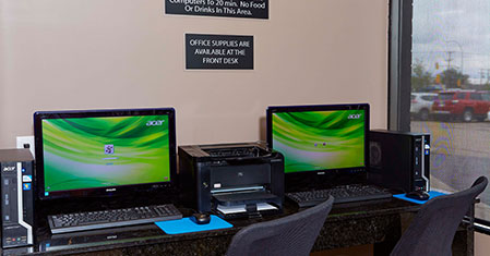 Our business center provides photocopying, fax & printer services & more.